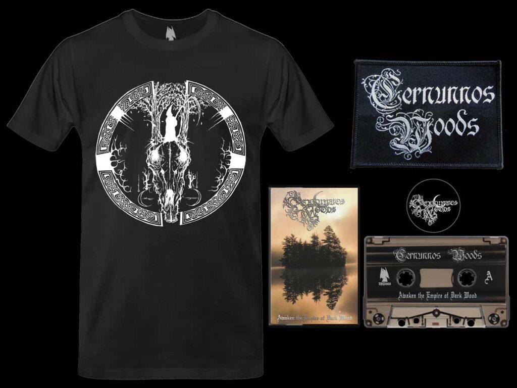 Cernunnos Woods - Awaken the Empire of Dark Wood Cassette Tshirt Bundle dungeon synth